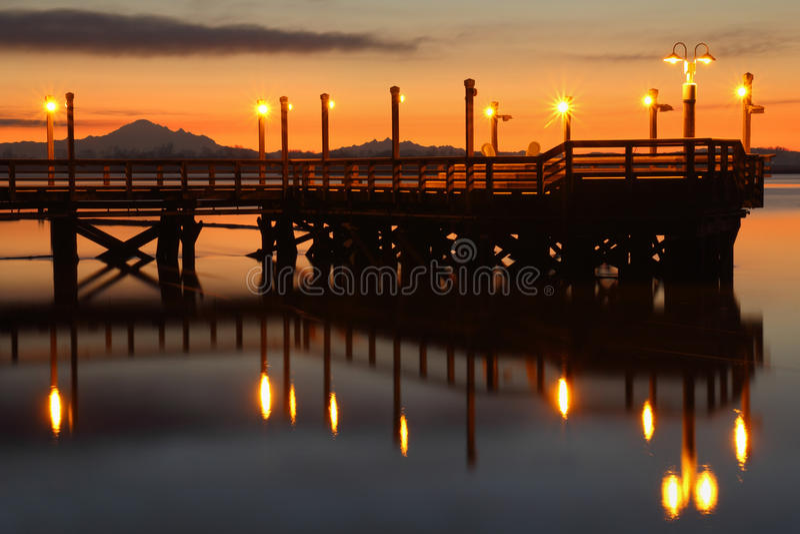 Dawn Fishing Pier, Rivier Fraser stock afbeeldingen