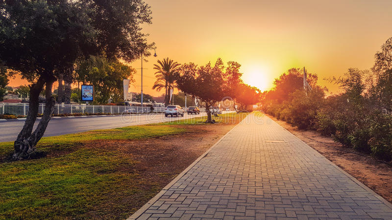 Dawn floods concrete paved stone sidewalk. Rishon LeZion, Israel-October 21, 2016: Dawn floods concrete paved stone sidewalk with beautiful sunlight. It is stock image