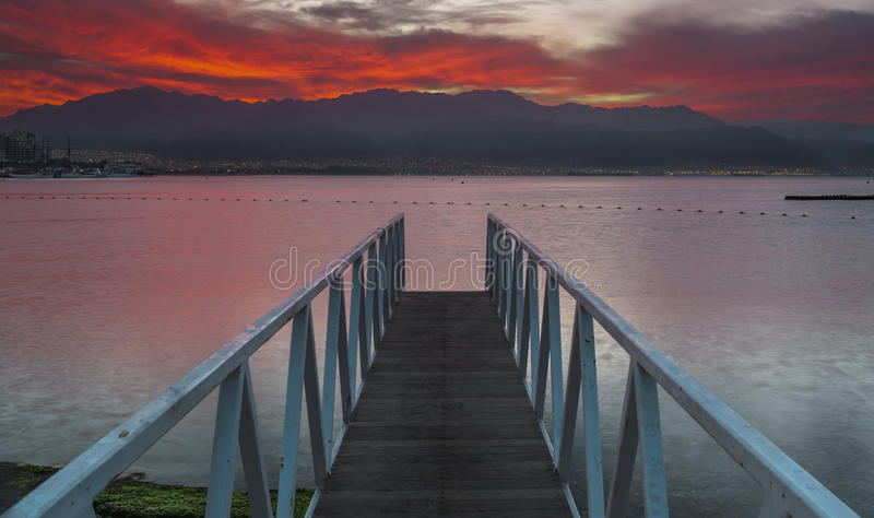 Before dawn at the gulf of Eilat. Eilat is a famous resort and recreation city in Israel royalty free stock photos