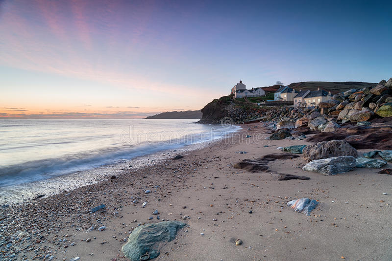 Dawn in Hallsands in Devon royalty-vrije stock fotografie