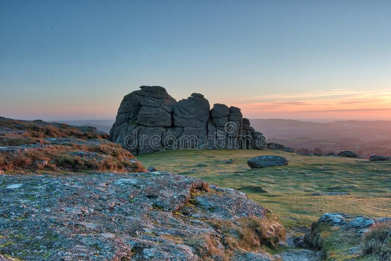 Dawn at Haytor Rocks royalty free stock photos
