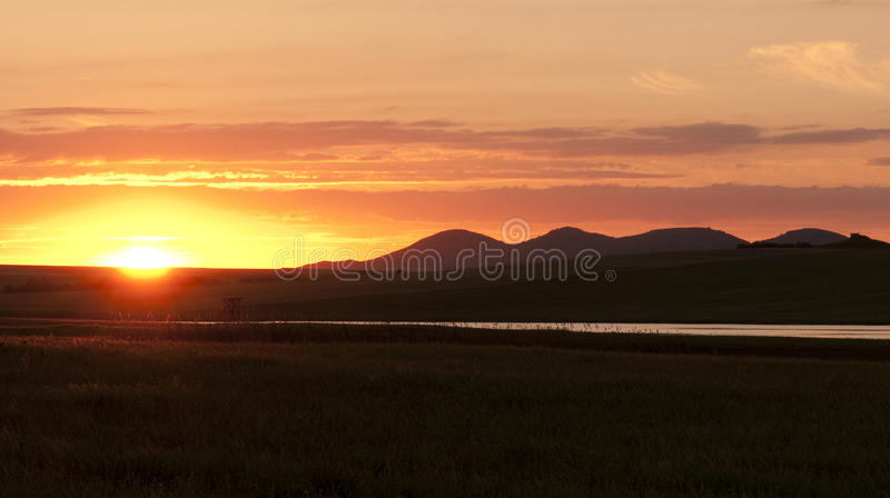 Dawn at hill side royalty free stock photography