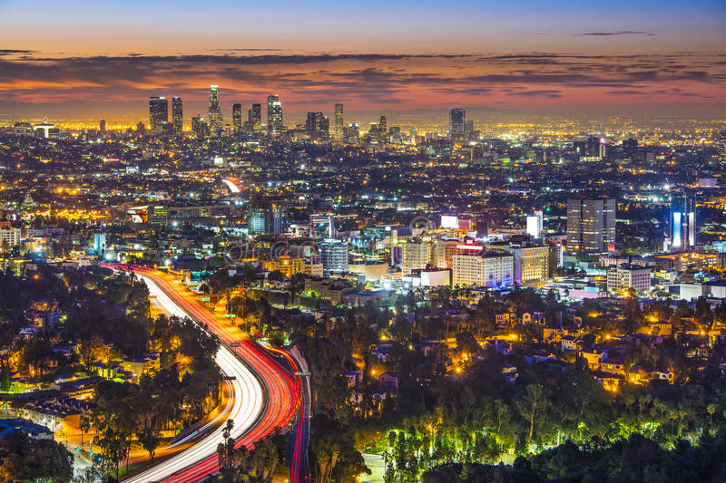 Dawn in LA. Los Angeles, California in the monring from Mulholland Drive