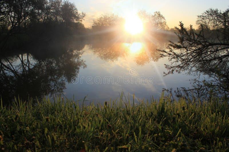 Dawn at lake stock photos