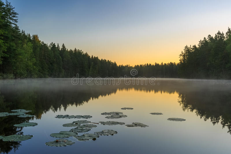 Dawn on the lake with reflection and fog, Finland. Espoo, Luuki royalty free stock photos