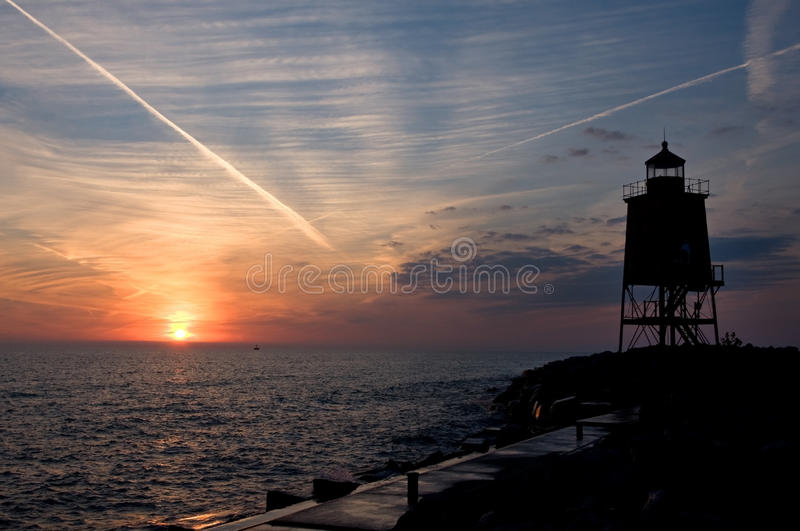 Dawn Lighthouse royalty-vrije stock foto's