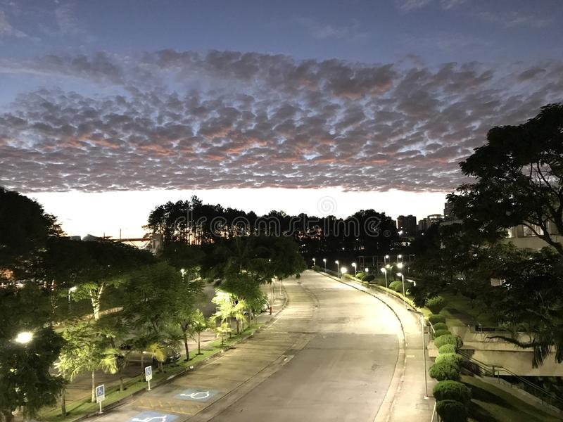 Dawn. A look at the sunrise in the city of Barueri - Brazil stock photography