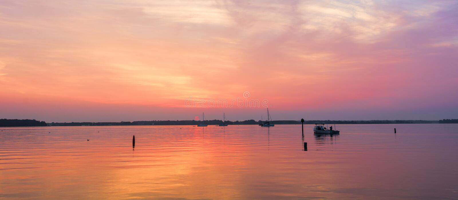 Dawn on the Miles River royalty free stock image