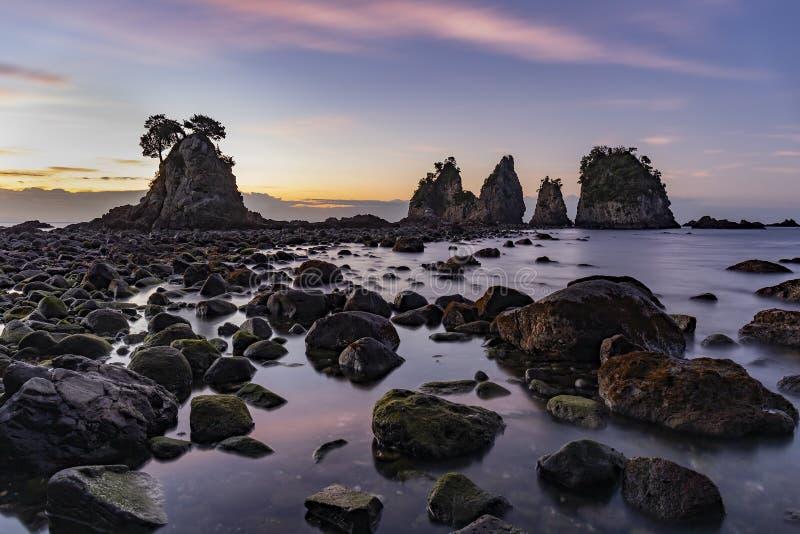 Dawn at Minokakeiwa Rocks, Japan stock image