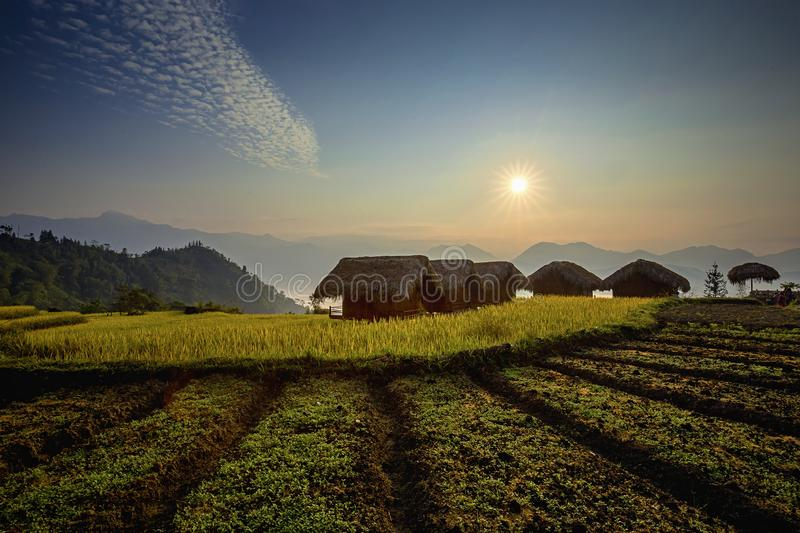 A dawn in a mountain homestays royalty free stock images