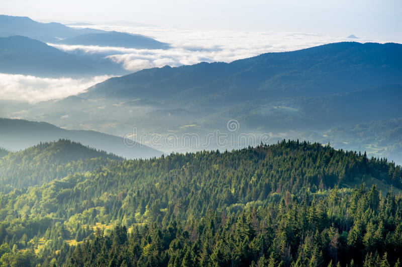 Dawn in mountains. Dawning in Beskidy mountains. View from Gorc on Beskid Sadecki hills at left Dunajec Valley in fog and hills of Gorce Mountains at right Luban stock photos