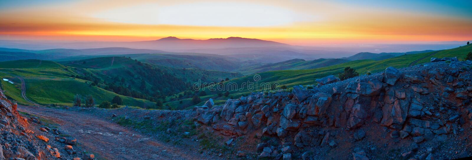 Dawn in mountains stock images