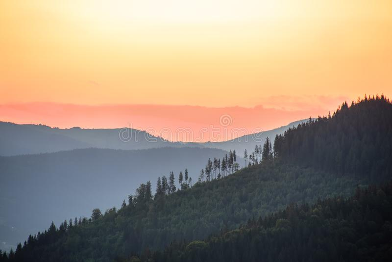 Dawn in the mountains. stock photography
