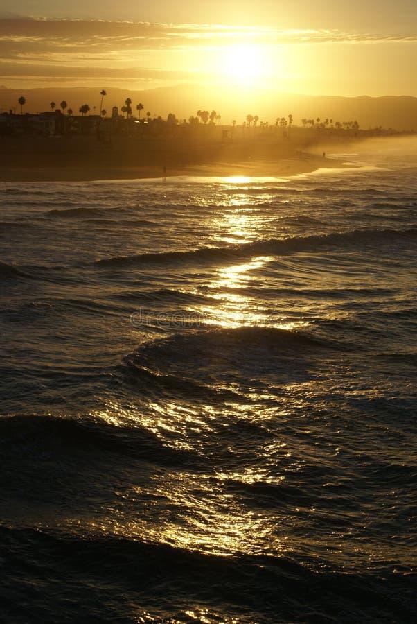 Dawn in New Port Beach, Californië royalty-vrije stock foto's