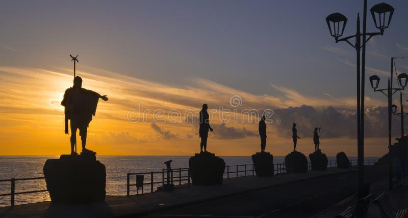 Dawn op Candelaria stadspromenade stock fotografie
