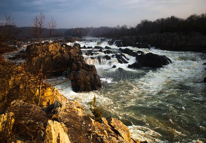 Dawn op de Potomac Rivier in Mather Gorge - 1 royalty-vrije stock foto