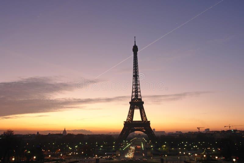 Dawn op de toren van Eiffel stock foto's