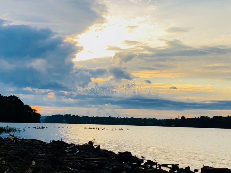 Dawn op het meer royalty-vrije stock afbeelding