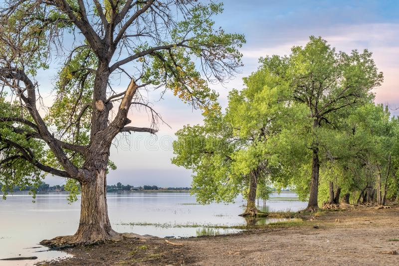Dawn over calm lake in Colorado. Boyd Lake State Park stock images