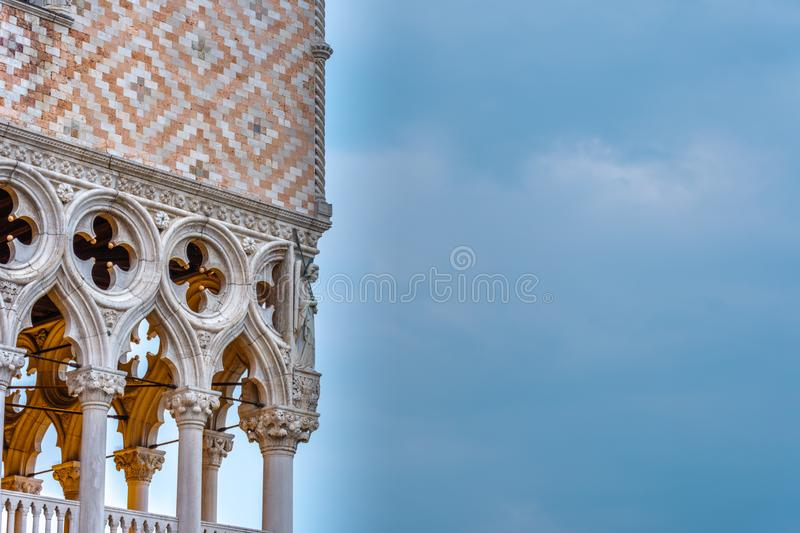 Dawn over the Doges Palace in Venice`s St. Mark`s Square royalty free stock image