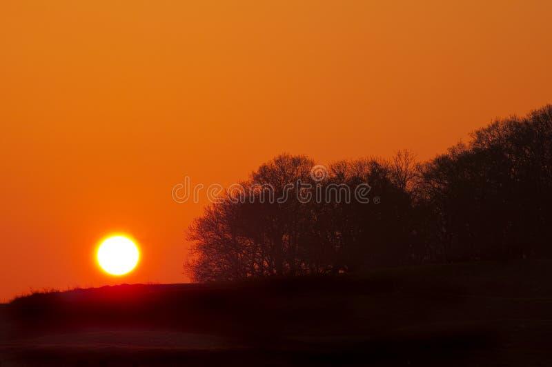 Dawn over english countryside stock photo
