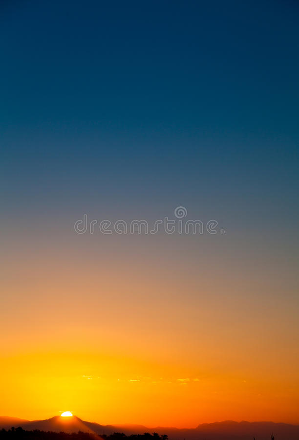 Dawn over the mountain stock image