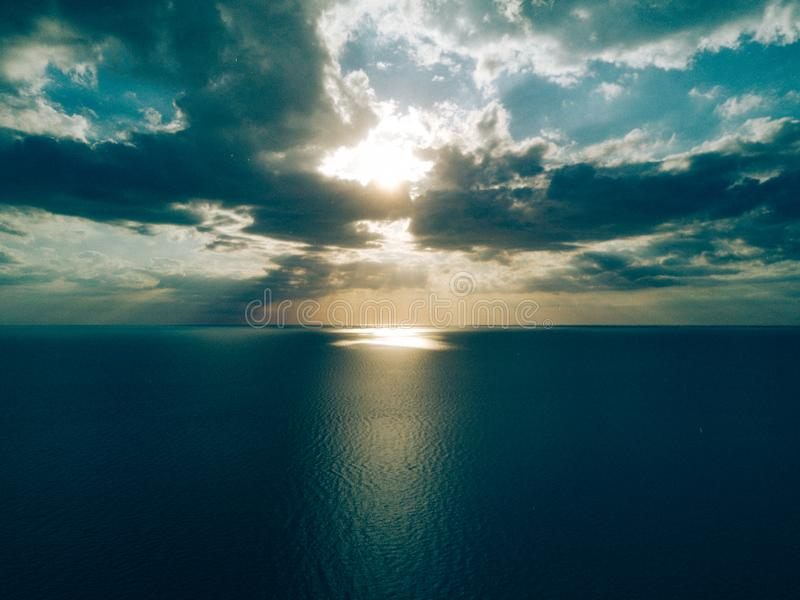 Dawn over the ocean stock photo