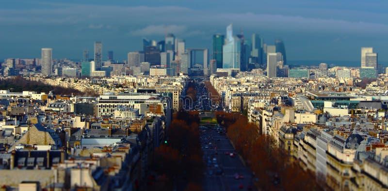 Dawn over Paris City (Tilt-shift) royalty free stock photo