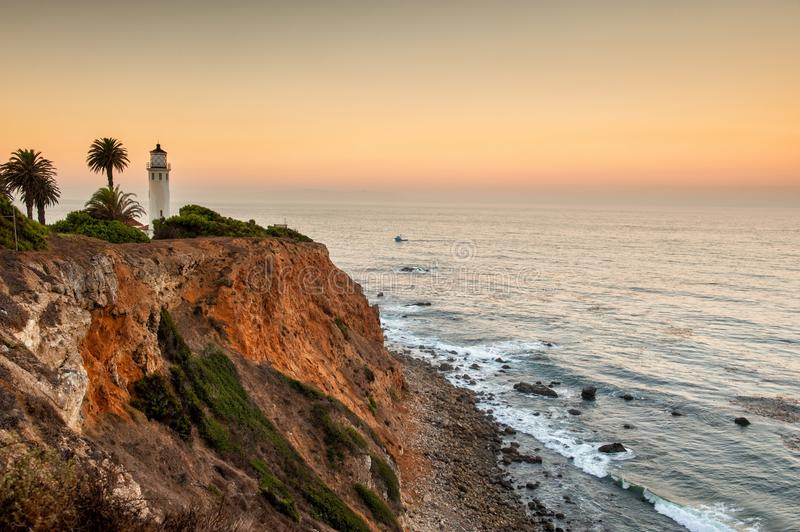 Dawn at Point Vicente Lighthouse royalty free stock photos