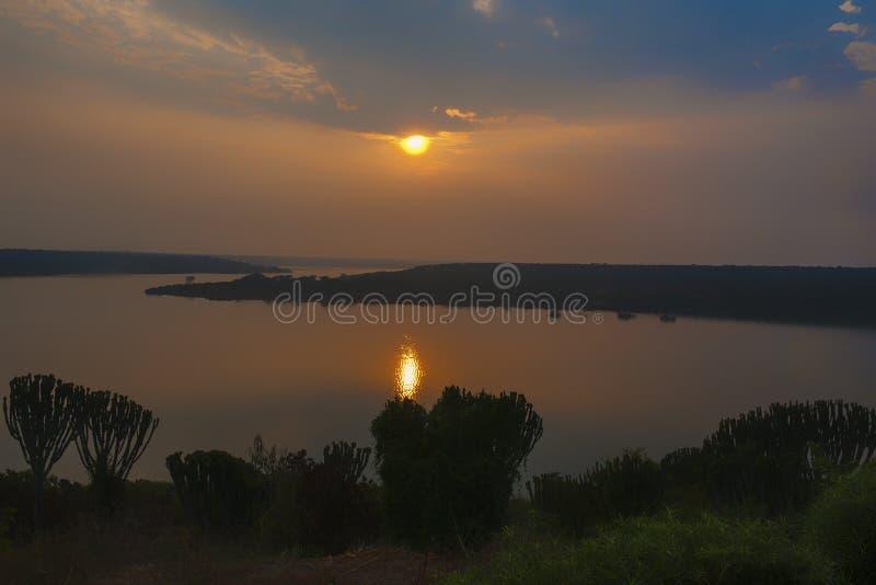 Dawn in Queen Elizabeth Park, Uganda. Sunset over lake in Queen Elizabeth National Park, Uganda stock photos