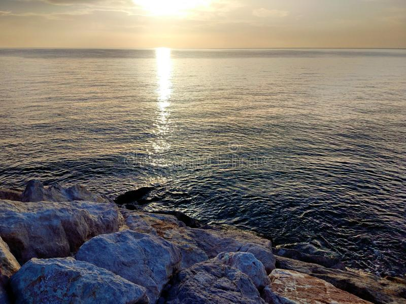 Dawn on the Red Sea in Turkey stock photo