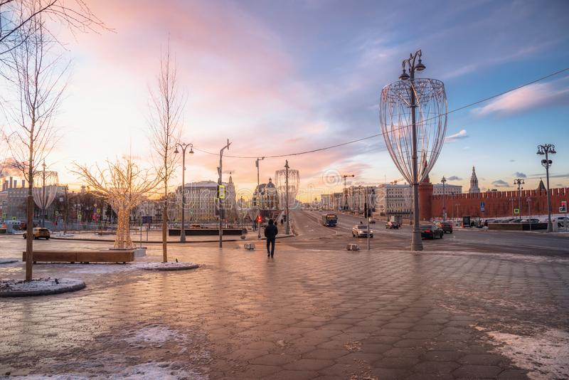 Dawn on Red Square and Bolshoy Moskvoretsky Bridge royalty free stock image