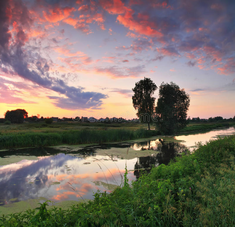 Download Dawn on the river stock photo. Image of countryside, colorful - 23091958