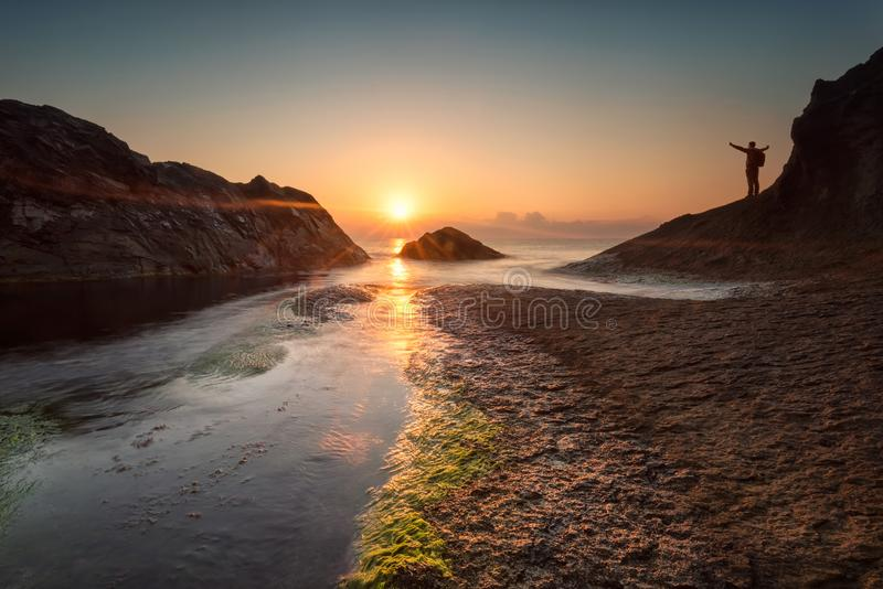 Dawn among the rocks royalty free stock images