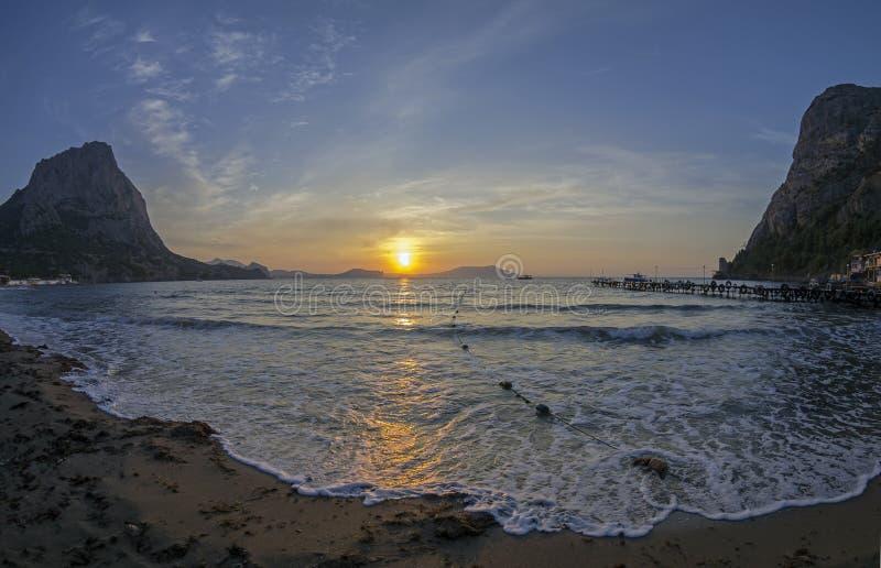 Dawn on the sea. Crimea, September. royalty free stock photo