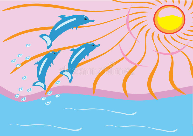 Dawn on the sea and dolphins