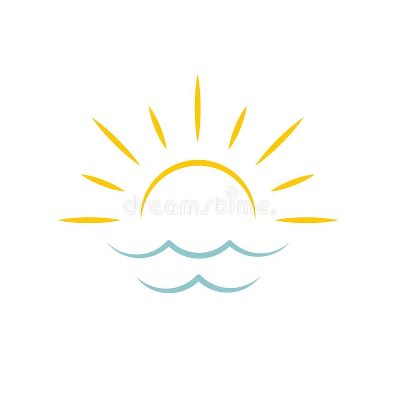 Dawn on sea. Sun icon. Travel agency emblem concept, vector logo template. Dawn on sea. Sun icon. Travel agency emblem concept, vector logo template vector illustration