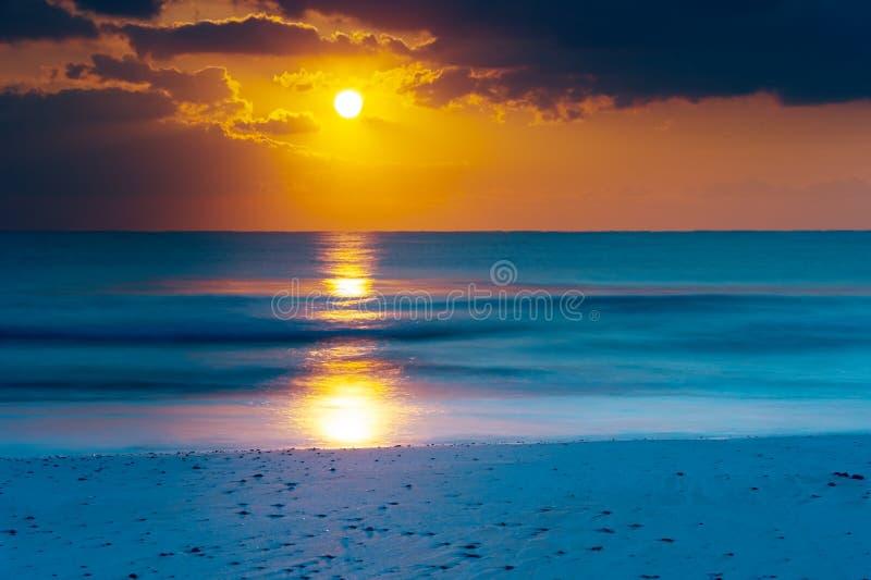Dawn at seaside stock images