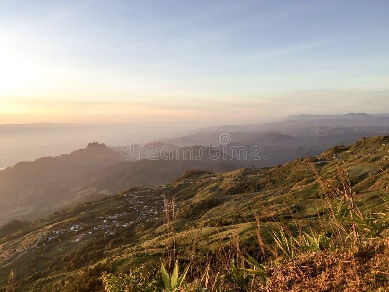Dawn sky mountain valley stock image