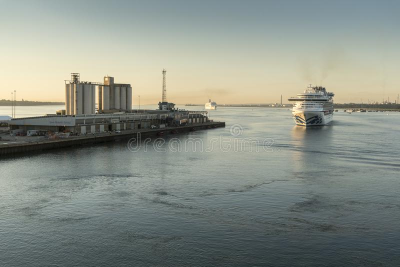 Dawn arrivals in Southampton stock photo