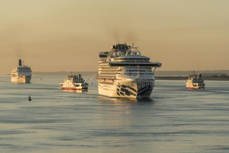 Dawn arrivals in Southamton royalty free stock photo