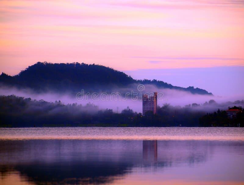 Dawn at Sun Moon Lake royalty free stock image