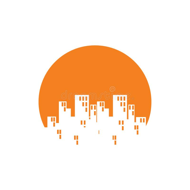 Dawn Sunrise City Building Skyline negativt utrymme royaltyfri illustrationer