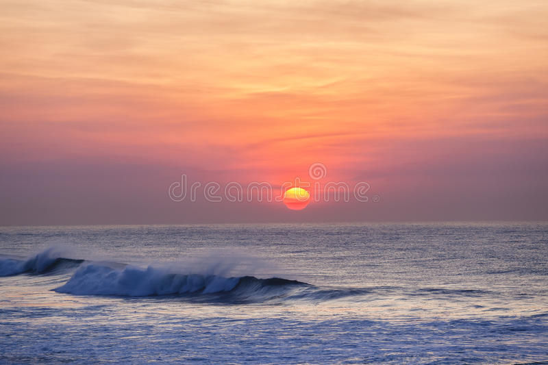 Dawn Sunrise Waves Colors royalty free stock photography