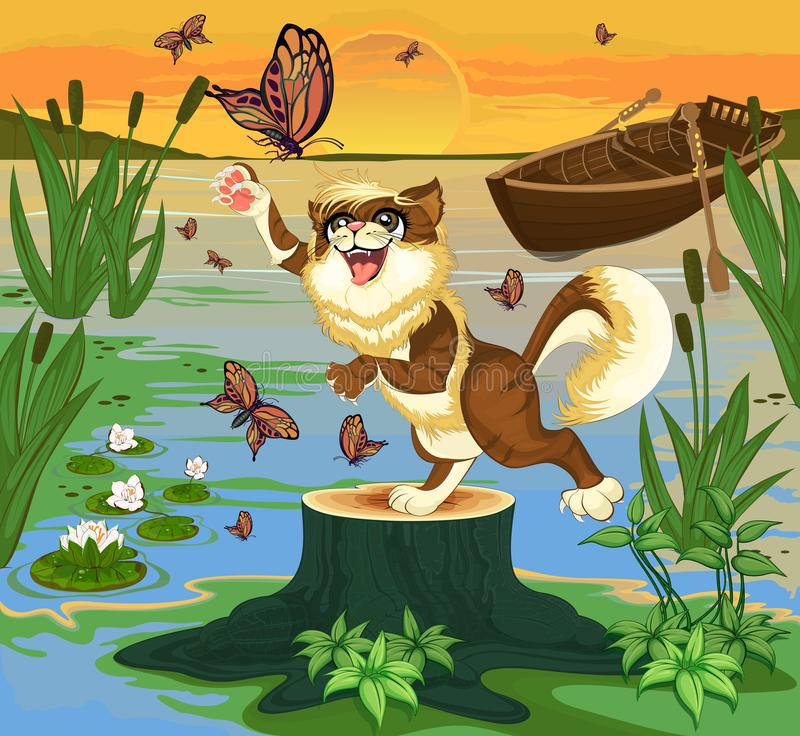 Dawn on the swamp 3. The brown cat standing on a stump at the sunlit lake and tries to catch a butterfly stock illustration