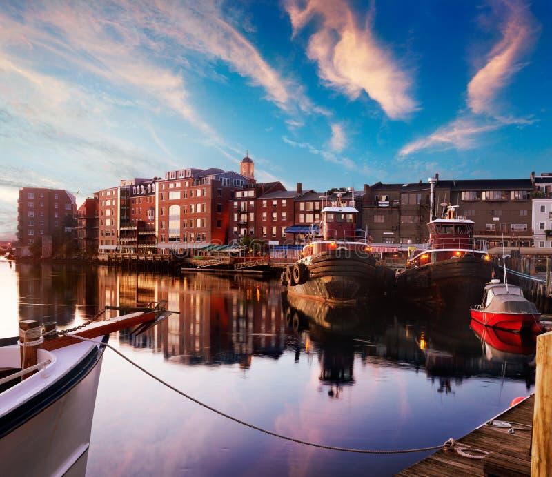 Dawn te de waterkant van Portsmouth stock foto