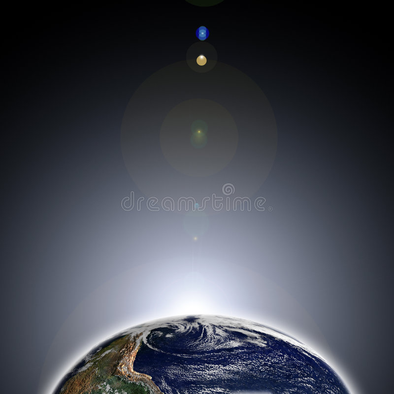Dawn ter wereld van ruimte stock foto's