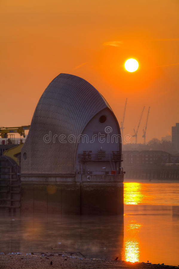 Download Dawn at the Thames Barrier stock photo. Image of tidal - 23716790