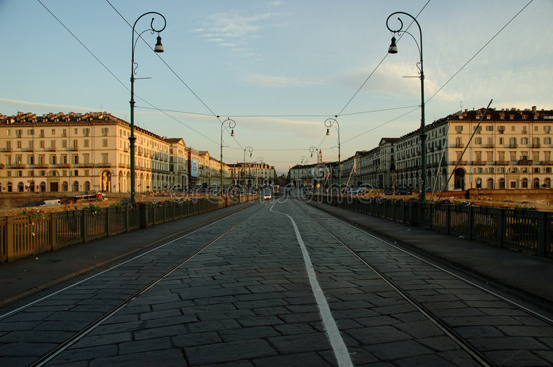 Download Dawn in Turin stock photo. Image of turin, ponte, tramways - 5299246