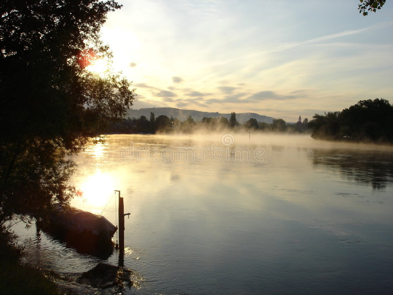 Dawn on the upper Rhine River stock image